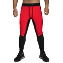 Men's Hot Fashion Colorblock Patched Drawstring Waist Casual Slim Fitness Pencil Pants