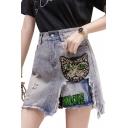 Summer High Waist Distress Raw Hem Sequin Embellished Letter Cat Printed Slim Fit Mini A-Line Denim Skirt