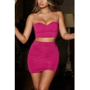 Stylish Sleeveless Straps Cropped Top with High Waist Ruch Mini Skirt Simple Plain Slinky Co-ords