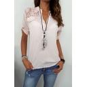 Women's Simple Plain Chic Lace Panel Short Sleeve V-Neck Blouse Top