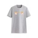 Hot Trendy Short Sleeve Round Neck Angel Baby Printed Basic Tee