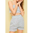 Summer Sweet Girls Blue Floral Printed Crop Cami Top with Bloomers Shorts Two-Piece Set