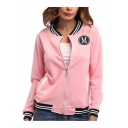 Woemns Simple Letter M Patched Rib Stand Collar Stripe Trim Zip Up Fitted Jacket