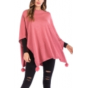 Womens Unique Stylish Pompom Hem Simple Plain Knitwear Poncho