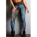 Unique Fishscale Printed High Rise Athletic GYM Fitness Yoga Leggings Pants