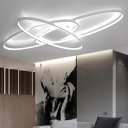 Aluminum Oval Ring Ceiling Lamp Simplicity Eye Protection LED Flush Light in White