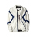 Men's Hot Fashion Color Block Print Long Sleeve Stand-Collar Zip Up Sweatshirt Jacket