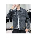 Men's Trendy Vintage Lapel Collar Plain Buttons Down Long Sleeve Ripped Slim Fit Grey Denim Jacket