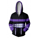 New Fashion Game Theme Color Block 3D Pattern Black and Purple Zip Up Comic Cosplay Hoodie