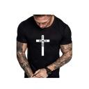 Summer Funny Letter I BELONG TO JESUS Cross Print Basic Short Sleeve Round Neck T-Shirt For Men