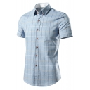 Classic Fashion Plaid Printed Short Sleeve Button Front Casual Shirt for Men