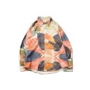 New Trendy Street Maple Leaf Pattern Long Sleeve lapel Collar Casual Button-Up Sun Protection Orange Shirt
