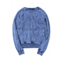 Men's New Fashion Simple Plain Vintage Washed Cotton Sweatshirt with Pocket