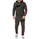 Men's Popular Fashion Colorblock Patched Side Logo Printed Drawstring Hoodie Sports Sweatpants Casual Two-Piece Set