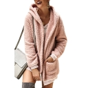 Womens Stylish Striped Hem Long Sleeve Hooded Shearling Fluffy Longline Coat