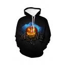 Halloween Letter Pumpkin 3D Printed Long Sleeve Loose Fit Black Drawstring Hoodie