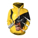 Popular Fashion Yellow Comic Character Bat 3D Printed Drawstring Hooded Long Sleeve Casual Loose Hoodie