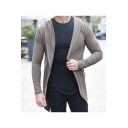 Mens Hot Sale Simple Plain Open Front Long Sleeve Loneline Slim Fitted Hooded Coats