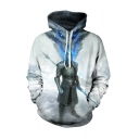 Popular TV Series Character Wolf 3D Printed Long Sleeve Gray Pullover Drawstring Hoodie