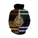 Hot Popular Harry Potter Color Block Stripe Badge Pattern Drawstring Hooded Long Sleeve Multicolor Hoodie