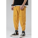 Men's New Stylish Solid Color Double Flap Pocket Front Sports Tapered Cargo Pants Track Pants