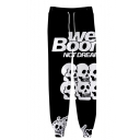 Popular Fashion Letter WE BOOM Skull 3D Printed Drawstring Waist Black Casual Joggers Sweatpants