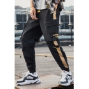 Mens Trendy Letter Printed Colorblack Patched Side Drawstring Waist Elastic Cuffs Casual Sports Cargo Pants
