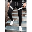 Mens New Stylish Colorblock Patched Drawstring Waist Casual Slim Cotton Sweatpants Sports Pencil Pants