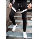 Mens New Stylish Colorblock Patched Drawstring Waist Casual Slim Cotton Sweatpants Sports Pencil Pants
