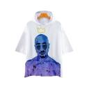 New Stylish Crown Figure Printed Short Sleeve White Casual Hooded T-Shirt
