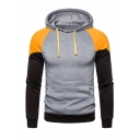 Men's Popular Fashion Colorblock Pacthed Long Sleeve Drawstring Hooded Casual Sports Pullover Hoodie with Pocket
