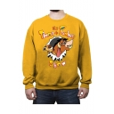 Cartoon Cattle Letter TIMON THE PUMBAA SHOW Printed Long Sleeve Round Neck Casual Pullover Sweatshirts