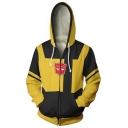 Popular Fashion Bumblebee Cosplay 3D Printed Long Sleeve Yellow Drawstring Zip Up Hoodie