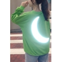 Unique Reflecting Light Moon Print Round Neck Long Sleeve Green Loose Sweatshirt
