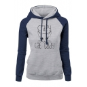 Crazy Cat Lady Letter Printed Long Sleeve Color Block Pullover Drawstring Hoodie
