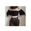 Sexy Off The Shoulder Bow Waist Half Sleeve Plain Crop Black Blouse&Top