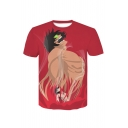 Summer Funny Comic Figure Print Round Neck Short Sleeve Red Casual T-Shirt