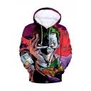 Cool Fashion Haha Joker 3D Printed Long Sleeve Loose Fit Purple Drawstring Pullover Hoodie