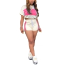 Womens Stylish Patchwork Hooded Short Sleeve Crop Tops with Elastic Dolphin Shorts Co-ords