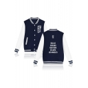 New Trendy Funny Letter FLY Printed Stand Collar Button-Down Long Sleeve Baseball Jacket For Men