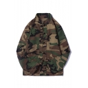 Mens Vintage Chinese Stylish Camo Printed Stand Collar Long Sleeve Single Breasted Green Jacket