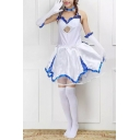 New Trendy Halter neck Sleeveless Cut out Cosplay Mini Asymmetrical white Dress