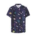 Mens New Trendy Funny Galaxy Pattern Basic Short Sleeve Button Up Nightclub Shirt