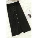 Women Elegant Note Button Embellished Split Front Knit Pencil Skirt