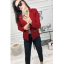 Ladies New Trend Raglan Sleeves Contrast Stripe Flap Pocket Red Fitted Blazer
