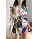 Vintage Floral Printed Single-Breasted Tied Waist Longline Blazer
