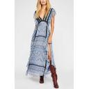 Women's Fashion V-Neck Sleeveless Ruffles Slit Open Back Tie Back Boho Maxi Dress