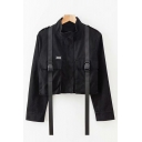 Leisure Stand Up Collar Double Black Push Buckle Pockets Solid Color Cropped Cargo Jacket Coat