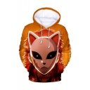 Cool Unique Orange Comic Character with Fox Mask 3D Print Unisex Sport Hoodie