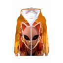 Cool Fashion 3D Comic Character with Fox Mask Printed Orange Zip Up Hoodie